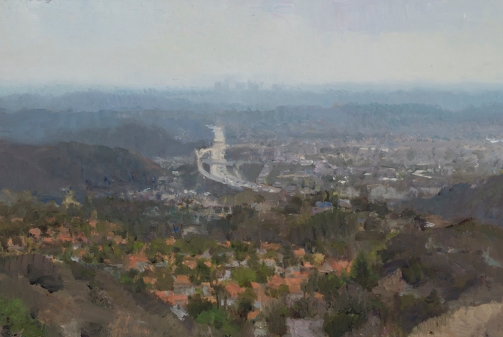 "Glendale South, 2016 oil on panel 7.5 x 11.75"" . Ann Lofquist. Photo Courtesy of Craig Krull Gallery."