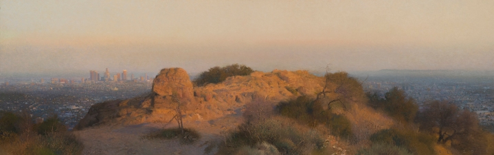 """Last Light, Griffith Park, 2015 oil on canvas 23 x 72"""". Ann Lofquist. Photo Courtesy of Craig Krull Gallery."""