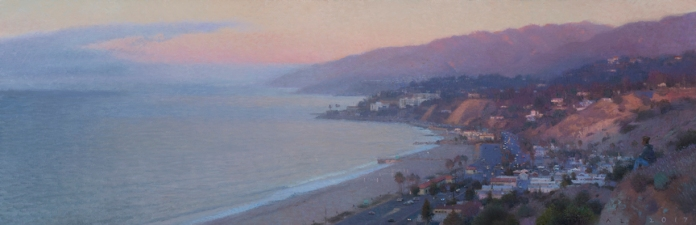 "Palisades North View (Fog at Dawn), 2017 oil on canvas 17 x 52"". Ann Lofquist. Photo Courtesy of Craig Krull Gallery."