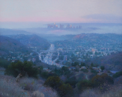 """South from Glendale (Dawn), 2017 oil on canvas 20 x 27"""". Ann Lofquist. Photo Courtesy of Craig Krull Gallery."""