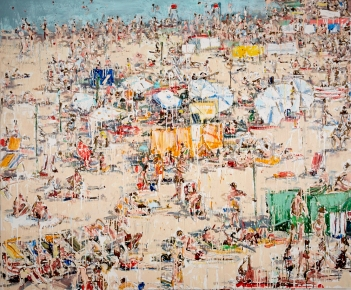 """Downtown Beach, 2017 acrylic, ink and house primer on canvas 60 x 72"""". Chrissy Angliker. Photo Courtesy of Craig Krull Gallery."""