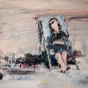 """Passed Out on Sunset Beach, 2017 acrylic, ink and house primer on canvas 30 x 30"""". Chrissy Angliker. Photo Courtesy of Craig Krull Gallery."""
