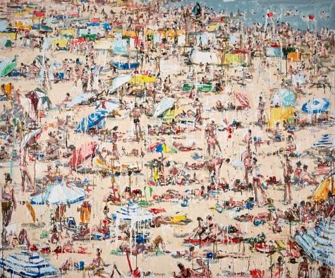"Umbrella Beach, 2017 acrylic, ink and house primer on canvas 60 x 72"". Chrissy Angliker. Photo Courtesy of Craig Krull Gallery."