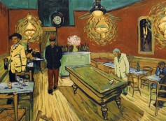 Night Café, Arles Lt Milliet (Robin Hodges) and Armand Roulin (Douglas Booth). Photo Courtesy of the Loving Vincent Production Team.
