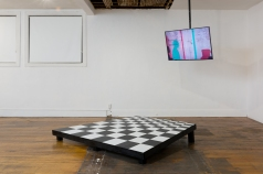 Janine Oleson: Can you feel it? Stage, 2017, wood, linoleum tile (designed and built by Rachel Higgins as set design for performance Breathe in the World, [or, problems with you, me, we, they, hear and see] at the Hammer Museum in May 2017). Courtesy the artist and Commonwealth and Council. Photo by Ruben Diaz.