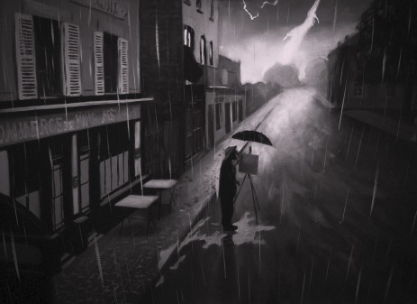 Vincent (Robert Gulaczyk) painting in the rain. Photo Courtesy of the Loving Vincent Production Team.