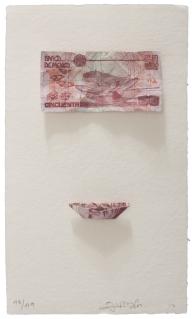 Abraham Cruzvillegas Ichárhuta, 2017 Mixografia® print on handmade paper and archival pigment print Edition of 49 12.75 X 7.5 inches. From Mexico City to LA at Mixografia, Los Angeles. Photo Courtesy of Mixografia.