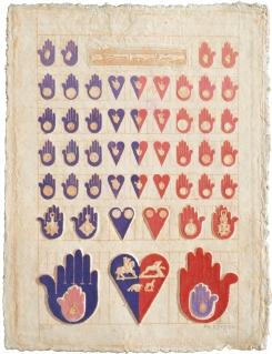 Pedro Friedeberg Numismaticocardioloquiromantica, 1979 Mixografía® print on handmade paper Edition of 100 34 X 26 inches. From Mexico City to LA at Mixografia, Los Angeles. Photo Courtesy of Mixografia.
