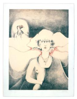 Marcos Huerta Extrana Dama, 1975 Lithograph on Arches paper Edition of 100 30 X 22 inches. From Mexico City to LA at Mixografia, Los Angeles. Photo Courtesy of Mixografia.