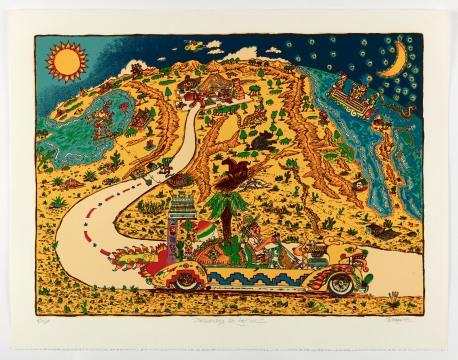 "Gilbert ""Magu"" Luján (1940- 2011) Returning to Aztlan, 1983, serigraph, 29 x 37 1/2 inches © The Estate of Gilbert ""Magu"" Luján. University Art Gallery, Claire Trevor School of the Arts. Aztlán to Magulandia: The Journey of Chicano Artist Gilbert ""Magu"" Luján Curated by Hal Glicksman and Rhea Anastas."