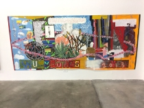 "Guan Rong The Ultimate Boys Painting (2013) Acrylic, pencil, marker, and color pencil on paper, 150""x66"" Supercaliforniagilisticexpialibodcious. Human Resources. Photo Credit Lorraine Heitzman."