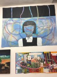 "Trulee Hall Head trip (2017) Acrylic on canvas, 120""x156"". Supercaliforniagilisticexpialibodcious. Human Resources. Photo Credit Lorraine Heitzman."