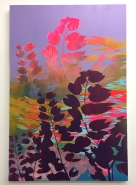 "Devon Tsuno Insurgent Horticulture 2 [Los Angeles River] (2017) Acrylic and spray paint on canvas, 108""x72"". Supercaliforniagilisticexpialibodcious. Human Resources. Photo Credit Lorraine Heitzman."
