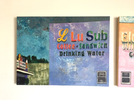 "Katie Herzog L Lu Sub / Elusive G (2016) Encaustic on panel, 38""x98"" . Supercaliforniagilisticexpialibodcious. Human Resources. Photo Credit Lorraine Heitzman."