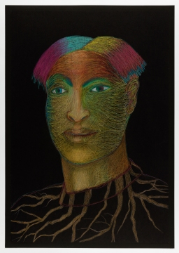 """Gilbert """"Magu"""" Luján (1940- 2011) """"Vato Con"""" Multi-Cultural Roots, 2006, Prismacolor on board, 38 ¼ × 26 inches © The Estate of Gilbert """"Magu"""" Luján. University Art Gallery, Claire Trevor School of the Arts. Aztlán to Magulandia: The Journey of Chicano Artist Gilbert """"Magu"""" Luján Curated by Hal Glicksman and Rhea Anastas."""