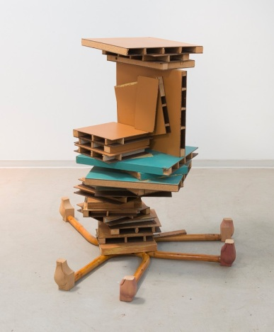 "Khôra. Coleen Sterritt, Honey Pile, 2011, 42"" x 54"" x 50"", wood, masonite, found furniture, acrylic paint, adhesive, Photo: Laura Goble. Photo Courtesy of Mt. San Antonio College Art Gallery."