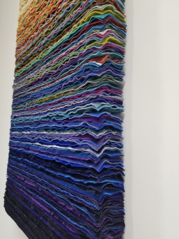 Lynn Aldrich Velvet Painting-Faking Day Breaking. Conceptual Craft at DENK Gallery. Photo Credit Jacqueline Bell Johnson.