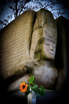 Oscar Wilde tomb, by American sculptor Sir Jacob Epstein. Photo © Carolyn Campbell.