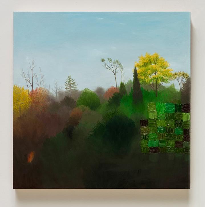 "Astrid Preston, Hilltop, 2016, oil on panel, 16 x 16"", Courtesy of Astrid Preston and Craig Krull Gallery, Santa Monica, CA."