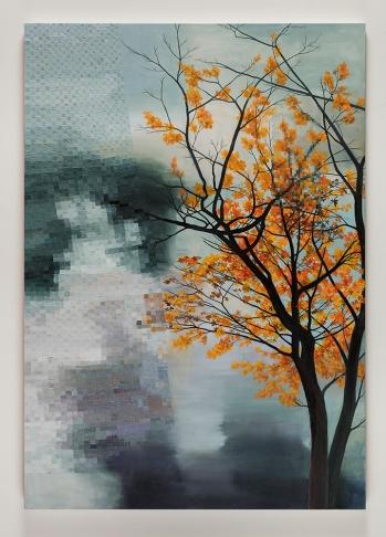 "Astrid Preston, Sky Water Tree, 2017, oil on canvas. 60 x 42"", Courtesy of Astrid Preston and Craig Krull Gallery, Santa Monica, CA."