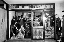 Radical Women: Latin American Art, 1960-1985, Hammer Museum, Los Angeles. Graciela Carnevale (Argentine, b. 1942), Acción del encierro (Lock-up action), 1968. Ciclo de Arte Experimental, Rosario, Argentina; Photography: Carlos Militello. Black-and-white photographs. Fifteen sheets: 3 9/16 × 5 1/2 in. (9 × 14 cm) or 5 1/2 × 3 9/16 in. (14 × 9 cm); one sheet: 6 7/8 × 9 7/16 in. (17.5 × 24 cm). Collection of Graciela Carnevale/Archivo Graciela Carnevale. ©the artist.