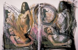 Radical Women: Latin American Art, 1960-1985, Hammer Museum, Los Angeles. Josely Carvalho (American, b. Brazil, 1942), Waiting, 1982. Silk screen and crayon on paper (diptych). 30 1/8 × 22 1/4 in. (76.5 × 56.5 cm) each. Collection of Josely Carvalho. ©the artist. Photo by Ed Mumford.