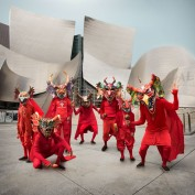 Dancing devils at disney hall. Cristobal Valecillos. Yare: One More Dance. Timothy Yarger Fine Art. Photo Courtesy of the Gallery.