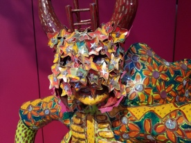 Dee Marcellus Cole. Bird Watcher detail. Dee Marcellus Cole and Carnival Seekers. Claremont Museum of Art. Photo Credit Jacqueline Bell Johnson.