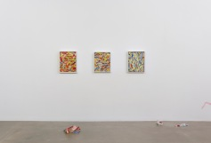 """Kim Dingle """"HOME DEPOT COLORING BOOKS,"""" Installation View. Susanne Vielmetter Los Angeles Projects. Photo credit: Robert Wedemeyer."""