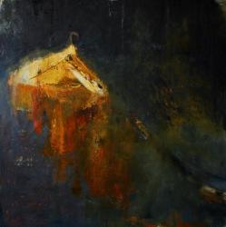 "Emily Halpern. Beyond_Words, 2017, oil on linen, 76"" x 76"""