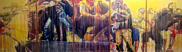 "Alex Kritselis. ""The Offering"", 2017. Acrylic on Velum, 60"" x 240"""