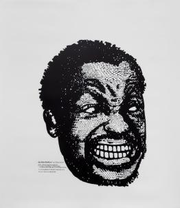 "Mark Steven Greenfield. Anger Mismanagement, ""Badass Anger Management"", 2015 , acrylic ink on Duralar, 46%22 X 40%22"