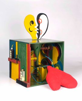Radical Women: Latin American Art, 1960-1985, Hammer Museum, Los Angeles. Teresinha Soares (Brazilian, b. 1927), Cai×a de fazer amor (Lovemaking box), 1967. Meat grinder, cloth, plastic tubes, two glass bottles with liquid, wires, oil paint. 23 5/8 × 21 5/8 × 14 9/16 in. (60 × 55 × 37 cm). Collection of Teresinha Soares. ©the artist.