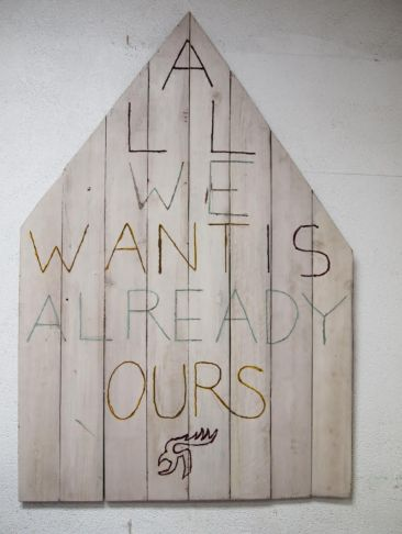 "Umar Rashid. ""All We Want Is Already Ours."" 2014, Acrylic on wood planks 45"" x 67.5"""