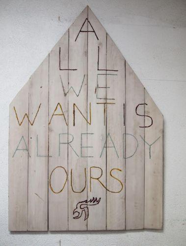 """Umar Rashid. """"All We Want Is Already Ours."""" 2014, Acrylic on wood planks 45"""" x 67.5"""""""