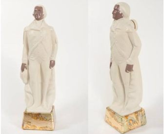 "Linda Vallejo. Make'Em All Mexican: The Father of Our Country, 2011, Repurposed porcelain, acrylic, 14k gold leaf, 16"" (h) x 4.5"" x 4.5"""