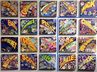 Ben Sakoguchi. Orange Crate Label Series: Words. Acrylic on Canvas.