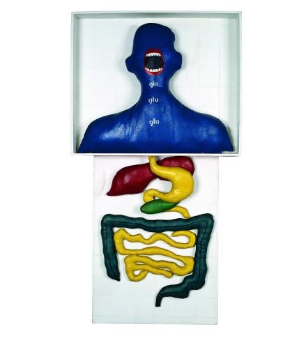 Anna Maria Maiolino, Glu Glu Glu…, 1967, acrylic ink and fabric on wood, 43 ¼ x 23 ¼ x 5 in. (110 x 59 x 12.5 cm). Gilberto Chateaubriand Collection, Museu de Arte Moderna, Rio de Janeiro. © Anna Maria Maiolino.