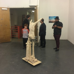 Samuel Jernigan and Maccabee Shelley at UCLA MFA Open Studios. Photo Credit: Chelsea Boxwell.