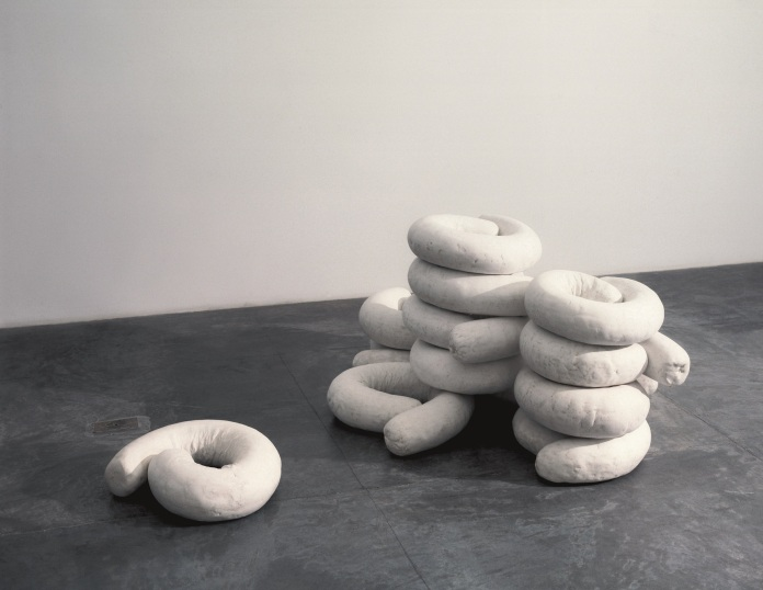 Anna Maria Maiolino, São (They Are), 1994–2005, plaster, each 4, 3/4 x 18 7/8 x 12 5/8 in. (12 x 48 x 32 cm.)