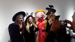 Artist Ave Rose (second from left) with reception attendees at opening. Sacrificial Lamb. Lethal Amounts Gallery. Photo Credit Jennifer Susan Jones