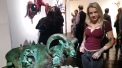 """Brooke Weston pictured with her piece """"Ram's Rest"""". Sacrificial Lamb. Lethal Amounts Gallery. Photo Credit Jennifer Susan Jones"""