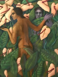 Judith Hernandez in One Path, Two Journeys at Millard Sheets Art Center. Photo Credit: Mario Vasquez.