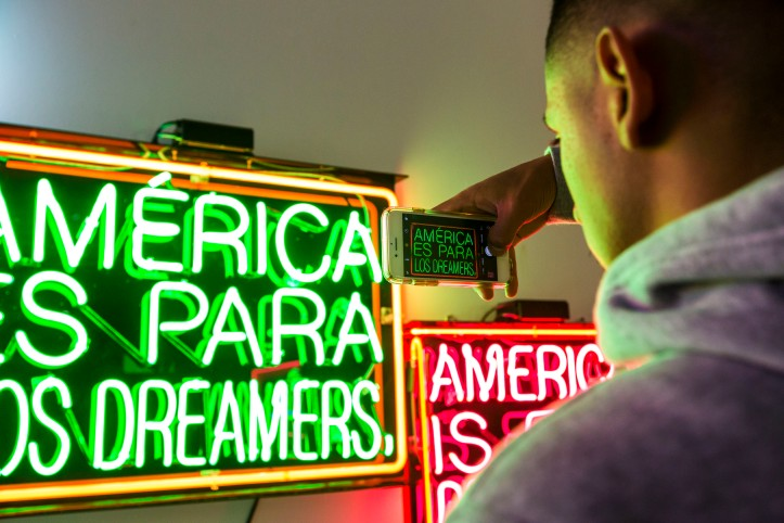 Patrick Martinez: America Is For Dreamers atVincent Price Museum; Photo by Monica Orozco; Image courtesy of the museum