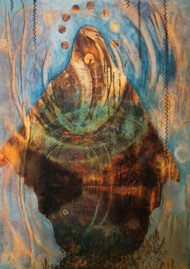 """Cathy Jean Clark, """"Divine Interventions"""", H2OMG! Watercolor Gone Wild, Muckenthaler Cultural Center; Image courtesy of the gallery"""