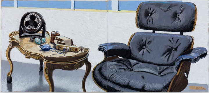 Cole Case, Eames Chair Studio Still Life 7.5.17 Pastel on paper, Diptych, 19×43 inches total. Photo Courtesy of the artist.