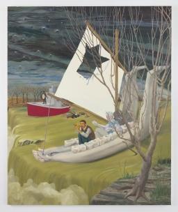 "Heading Down River on the USS J-Bone of an Ass, 2017, Oil on canvas, 127.25 x 105 x 1.75"", Nicole Eisenman, Susanne Vielmetter, Photo credit: Robert Wedemeyer"