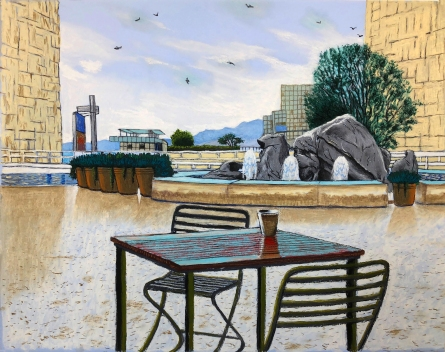 Cole Case, Getty Fountain 1.16.18 Looking 255 Degrees West 2018, Pastel on paper, 19×24 inches. Photo Courtesy of the artist.