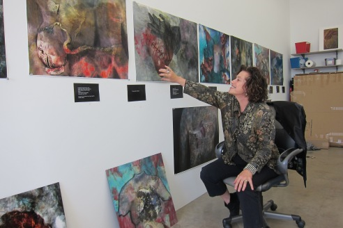 Studio visit with Aline Mare. Photo credit: Gary Brewer.