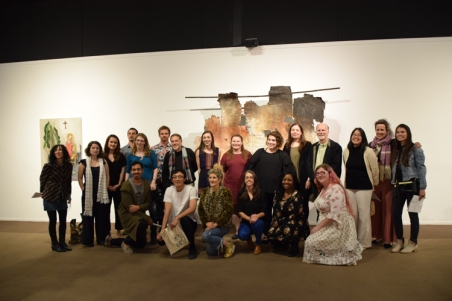 Juror, curators and artists during the opening reception for SoCal MFA 2018, Millard Sheets Art Center. Photo Credit: Kristine Schomaker.